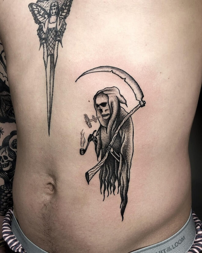 Dotwork Grim Reaper Tattoo