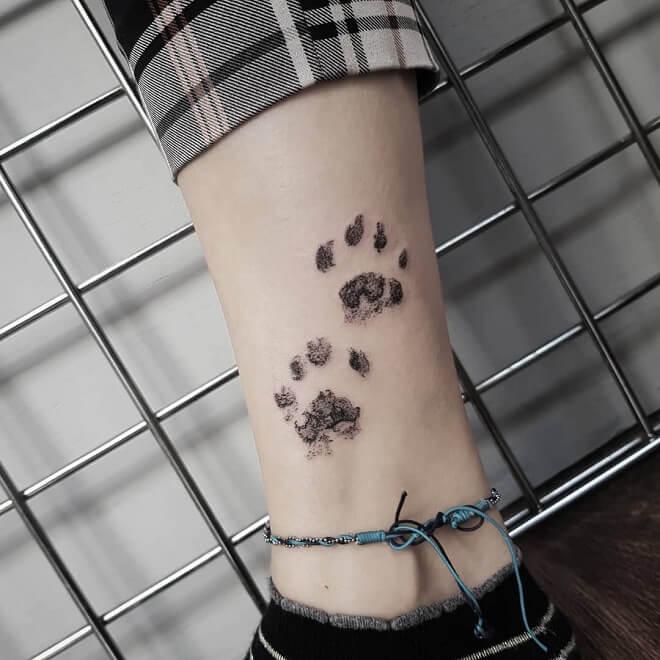 Dotwork Paw Print Tattoo