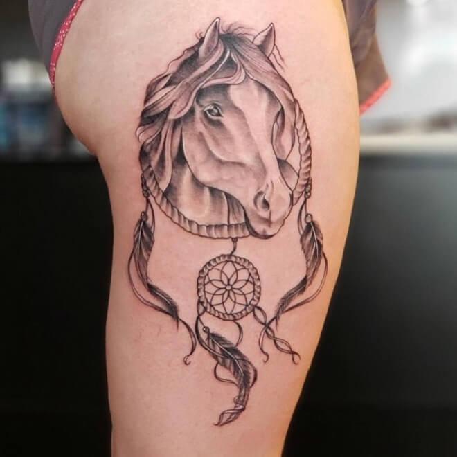 Dream Catcher Horse Tattoo