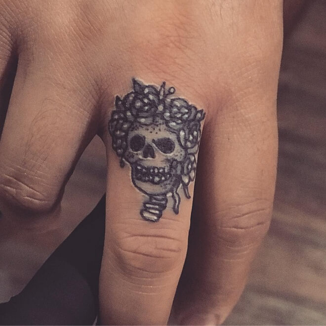 Finger Day of The Dead Tattoo