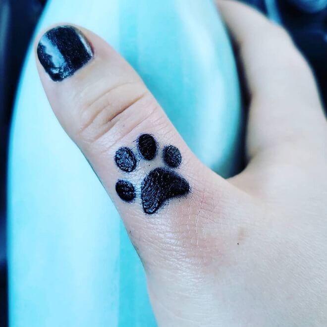 Finger Paw Print Tattoo