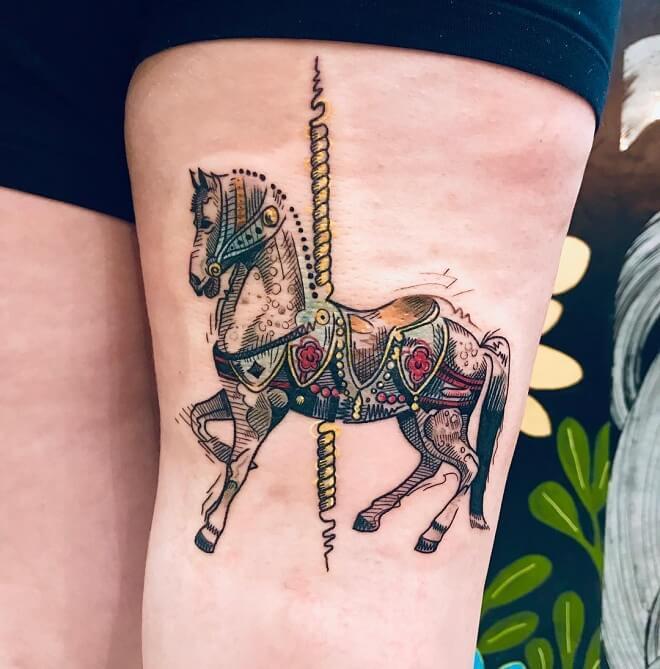 Flash Work Horse Tattoo
