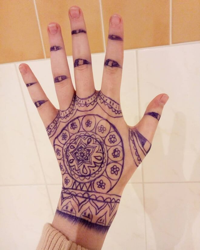 Floral Cool Henna Tattoo