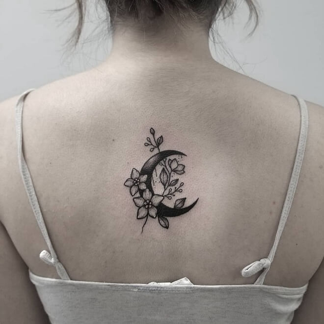 Floral Moon Tattoo