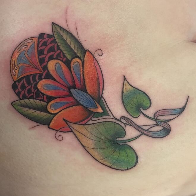 Floral Stomach Tattoo