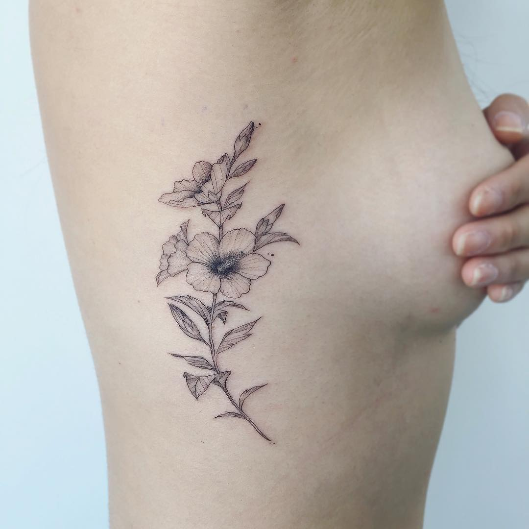 Flower Rib Cage Tattoo