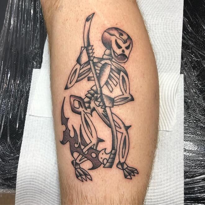 Folkart Grim Reaper Tattoo