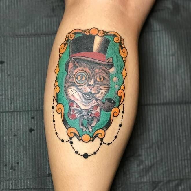 Gentlemen Cat Traditional Tattoo