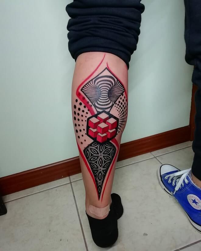 Geometric Leg Tattoos