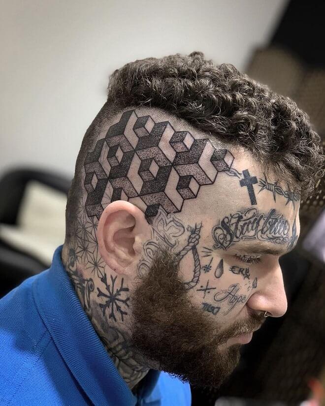 Geometry Head Tattoo