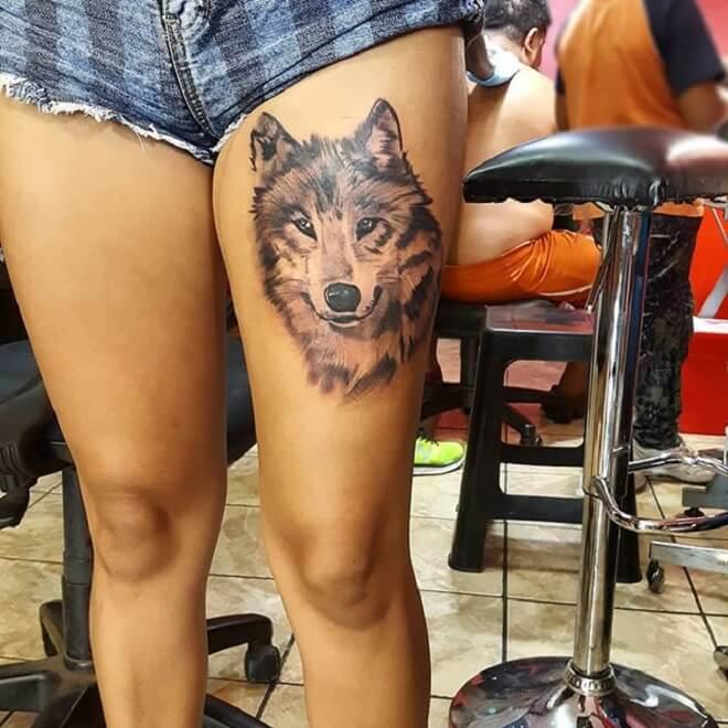 Girls Wolf Tattoo