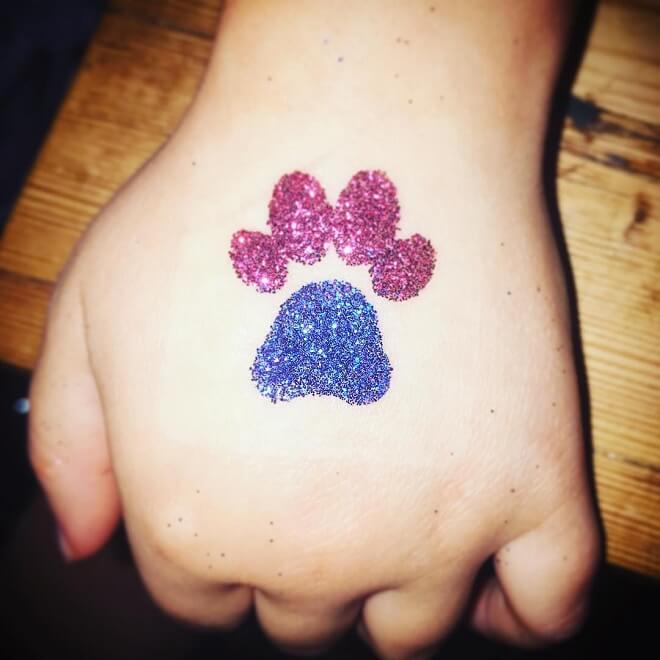 Glitter Paw Print Tattoo