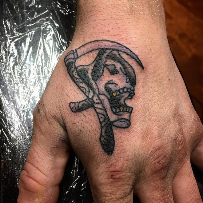 Hand Grim Reaper Tattoo