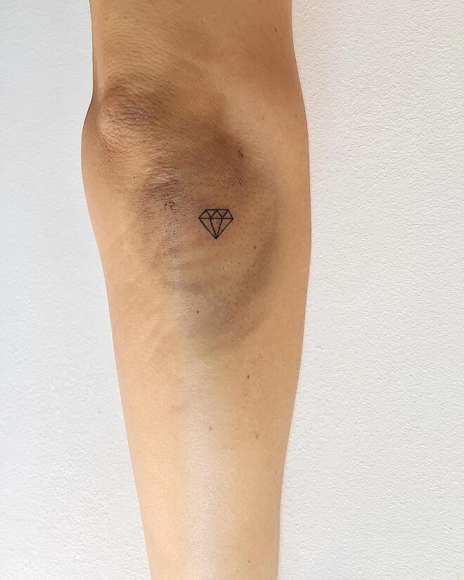 Hand Poke Diamond Tattoo