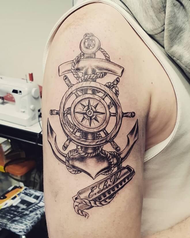 Kompas Anchor Tattoo