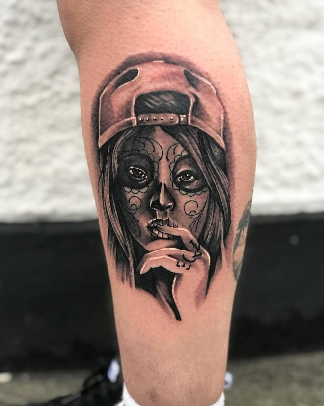 Leg Day of The Dead Tattoo