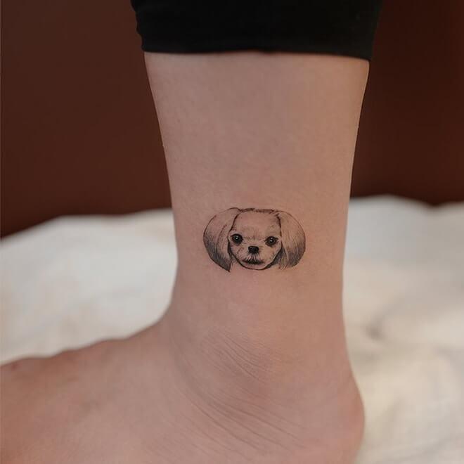 Leg Dog Tattoo