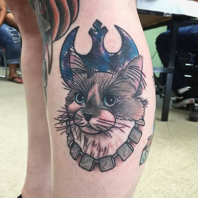 Lost Harbor American Traditional Cat Tattoo