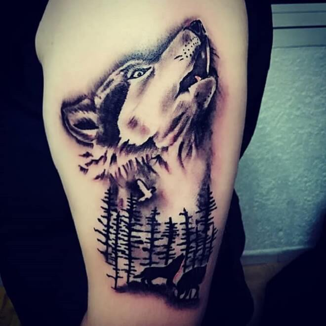 Loup Wolf Tattoo