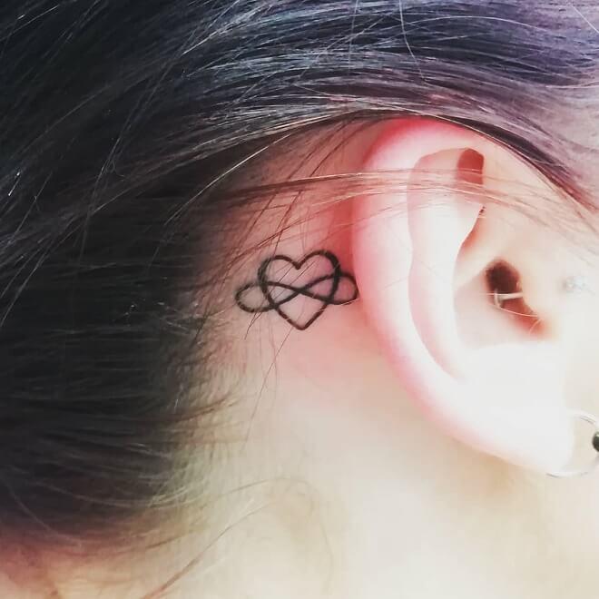 Love Heart Ear Tattoo