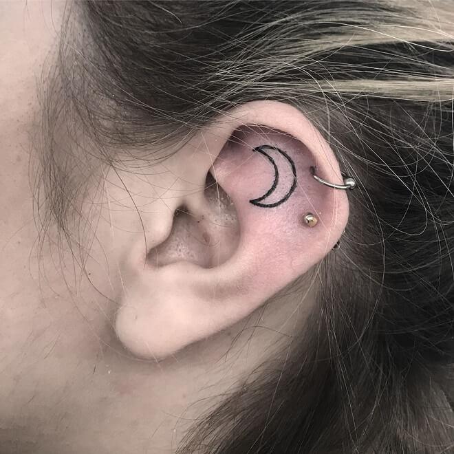 Moon Ear Tattoo