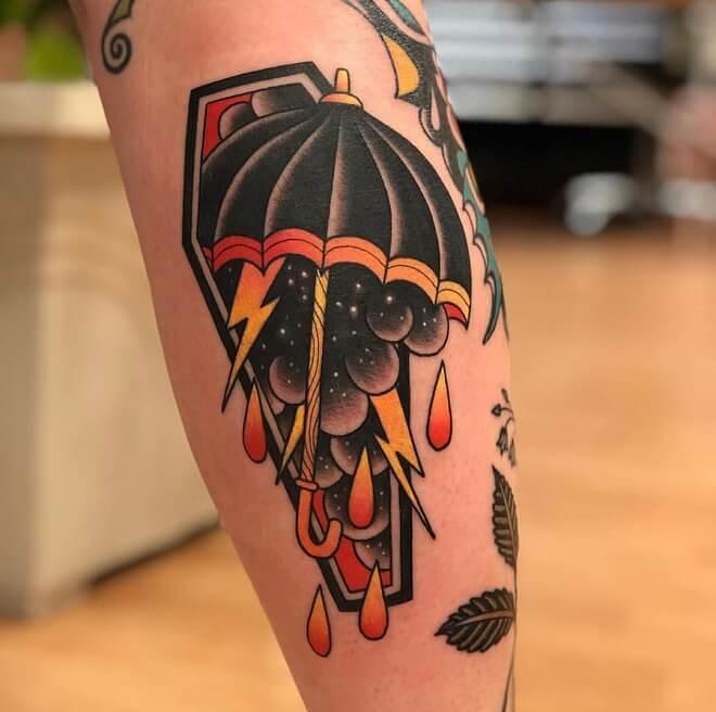 Neo Traditional Leg Tattoo