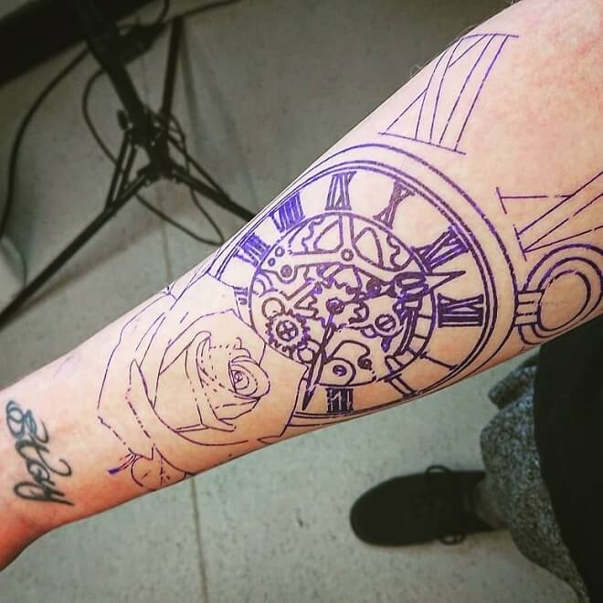 Open Work Clocks Roman Numeral Tattoo