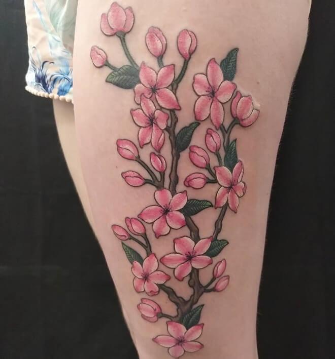 Pink Leg Tattoo