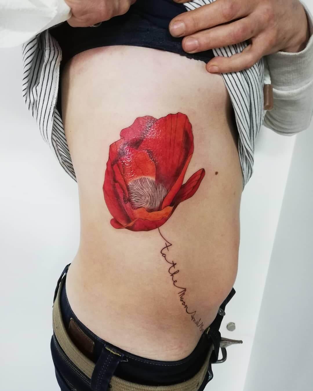 Poppy Rib Cage Tattoo