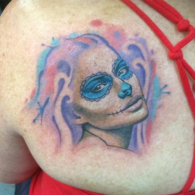 Portrait Day of The Dead Tattoo