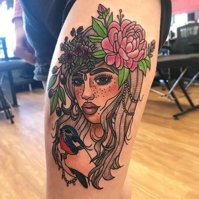 Portrait Leg Tattoo
