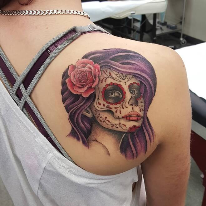 Purple Hair Day of The Dead Tattoo