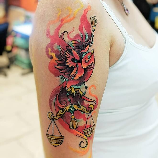 Red Color Libra Tattoo