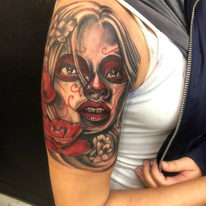 Red Rose Day of The Dead Tattoo