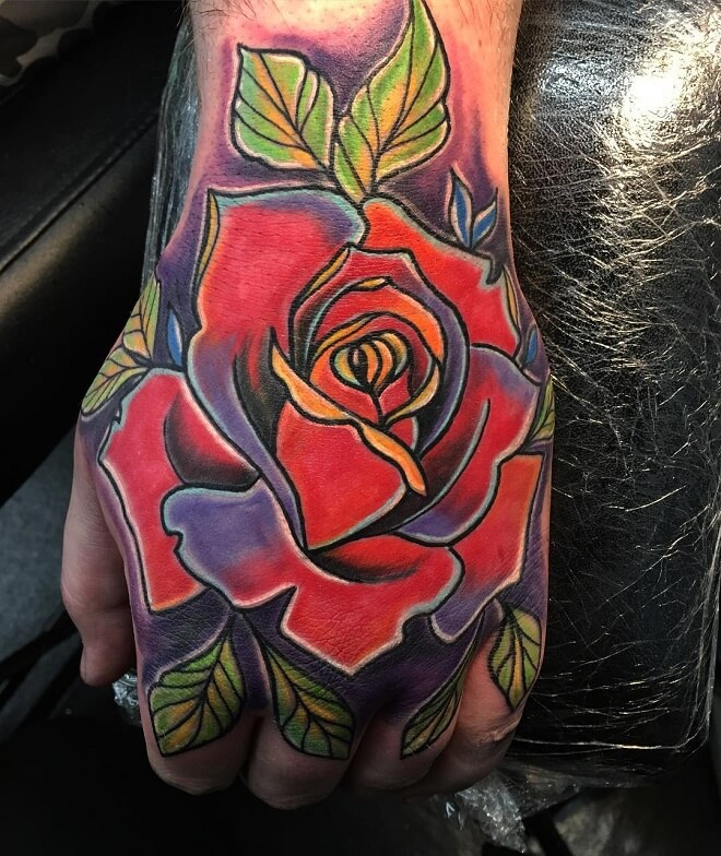 Red Rose Sleeve Tattoo