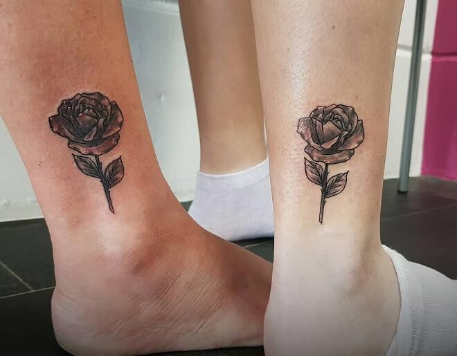 Rose Leg Matching Tattoos