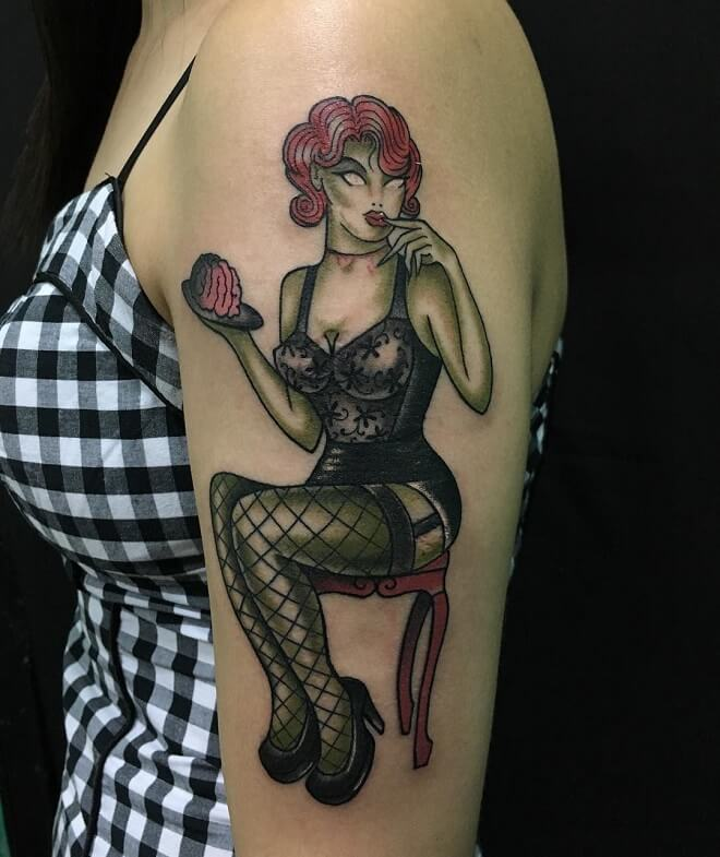 Rotary Works Pin Up Doll Tattoo