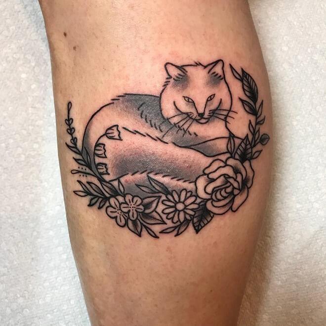 Samlott American Traditional Cat Tattoo