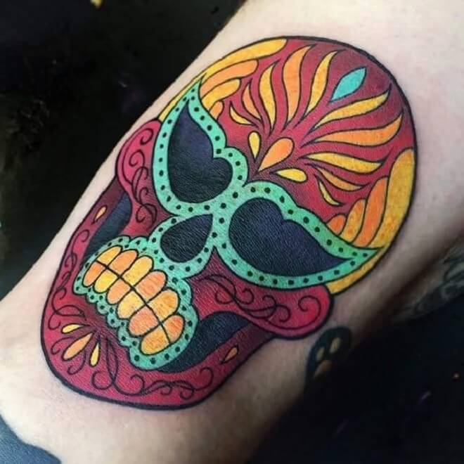 Skull Day of The Dead Tattoo