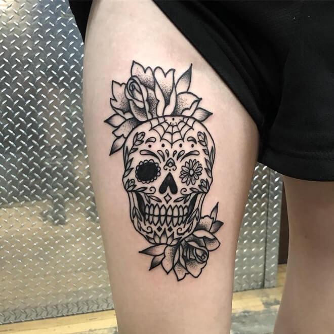 Skull Leg Tattoo