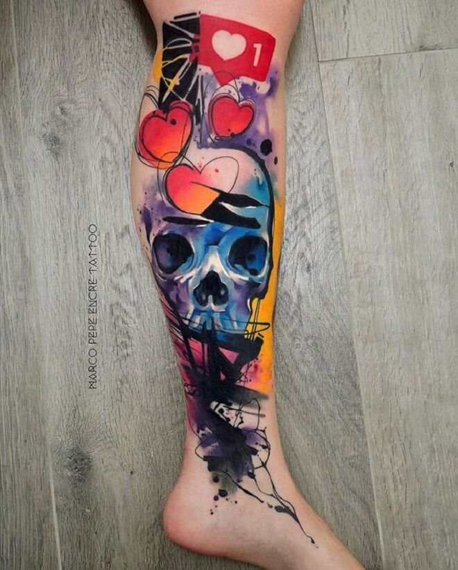 Skull Watercolor Tattoos