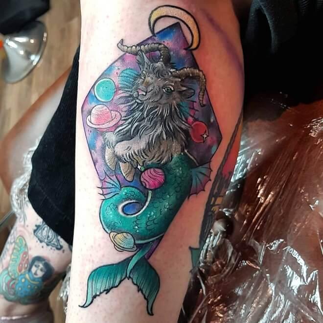 Space Capricorn Tattoo
