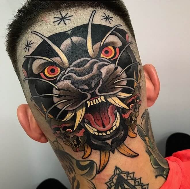 Spain Head Tattoo