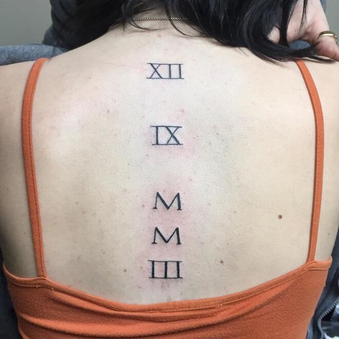 Spine Roman Numeral Tattoo
