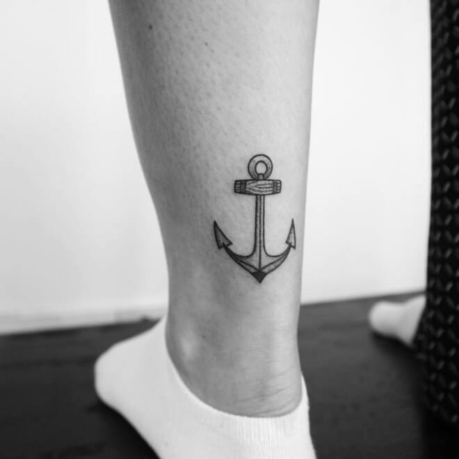 Stick And Poke Anchor Tattoo