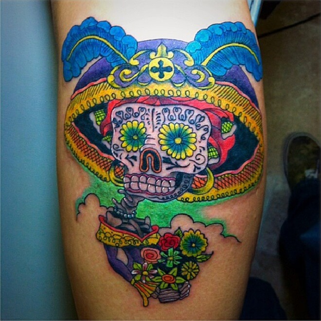 Sun Flower Day of The Dead Tattoo