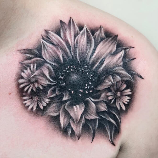 Sun flower Collar Bone Tattoo