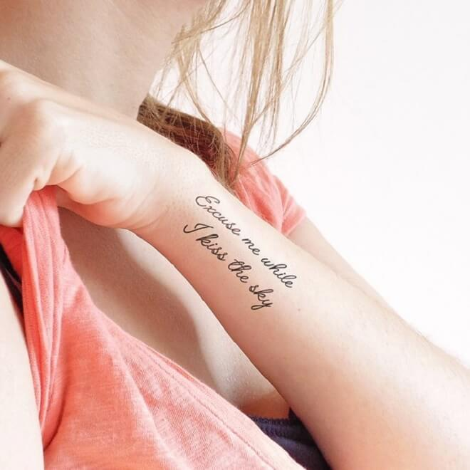 Temporary Quotes Tattoo