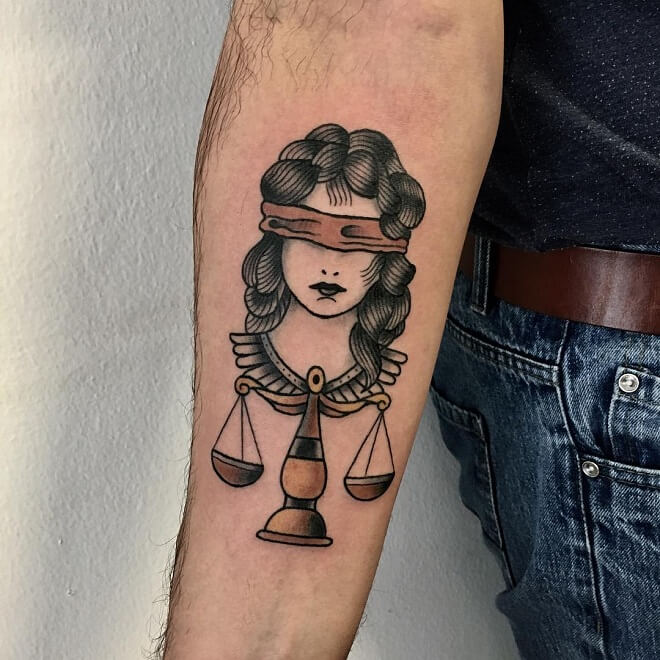 Traditional Libra Tattoo