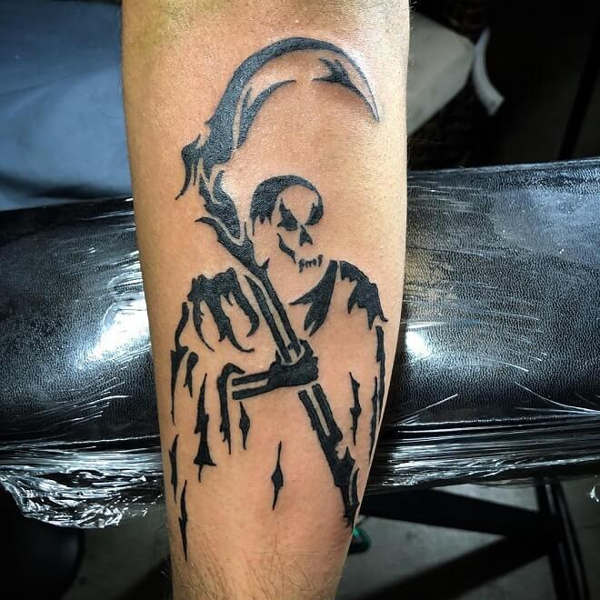 Tribal Grim Reaper Tattoo